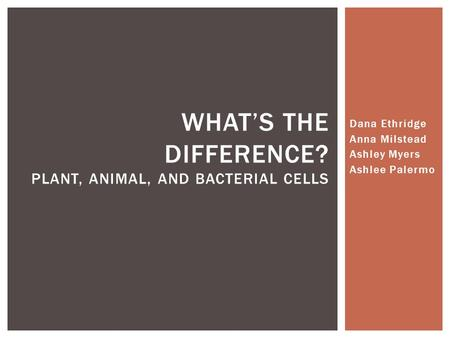 Dana Ethridge Anna Milstead Ashley Myers Ashlee Palermo WHAT'S THE DIFFERENCE? PLANT, ANIMAL, AND BACTERIAL CELLS.