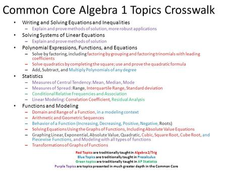 Common Core Algebra 1 Topics Crosswalk Writing and Solving Equations and Inequalities – Explain and prove methods of solution, more robust applications.