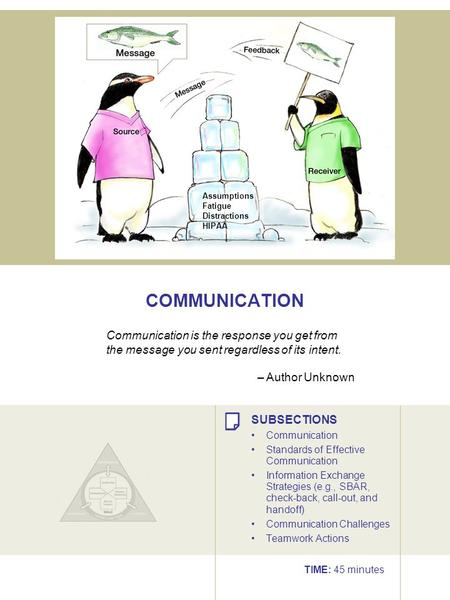 COMMUNICATION Assumptions Fatigue Distractions HIPAA Communication is the response you get from the message you sent regardless of its intent. – Author.
