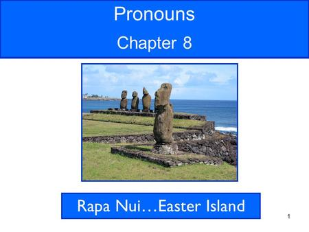 1 Pronouns Chapter 8 Rapa Nui…Easter Island. 2 Rapa Nui, or Easter Island, located in the South Pacific, is famous for its giant statues called moai.