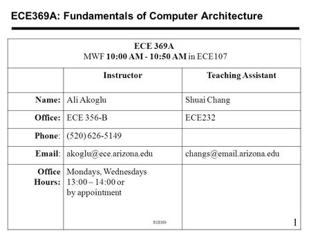 1 ECE369 ECE369A: Fundamentals of Computer Architecture ECE 369A MWF 10:00 AM - 10:50 AM in ECE107 InstructorTeaching Assistant Name:Ali AkogluShuai Chang.