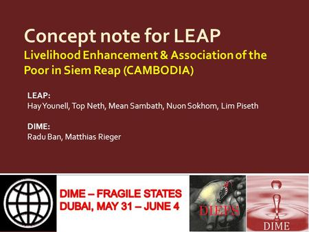 Concept note for LEAP Livelihood Enhancement & Association of the Poor in Siem Reap (CAMBODIA) LEAP: Hay Younell, Top Neth, Mean Sambath, Nuon Sokhom,