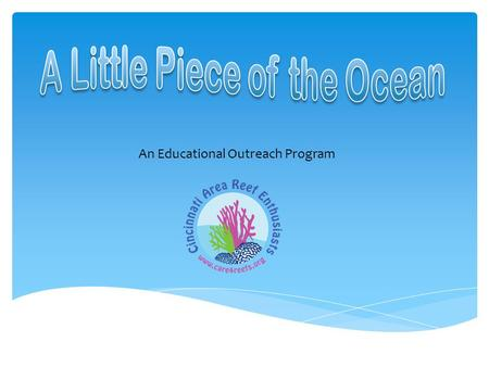 An Educational Outreach Program.  A window to a new ecosystem  An adventure into the ocean and its coral reefs  Study of reef structures, systems,