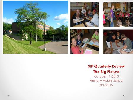 SIP Quarterly Review The Big Picture October 11, 2013 Anthony Middle School 8:15-9:15.