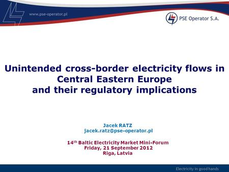 Electricity in good hands Unintended cross-border electricity flows in Central Eastern Europe and their regulatory implications 14 th Baltic Electricity.