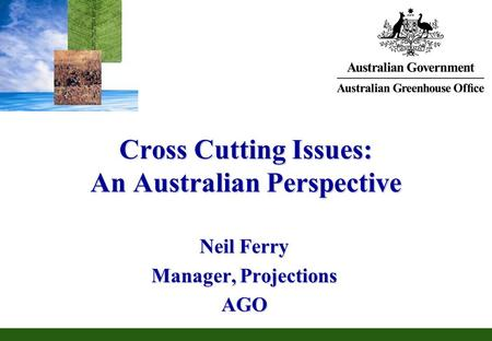 Cross Cutting Issues: An Australian Perspective Neil Ferry Manager, Projections AGO.