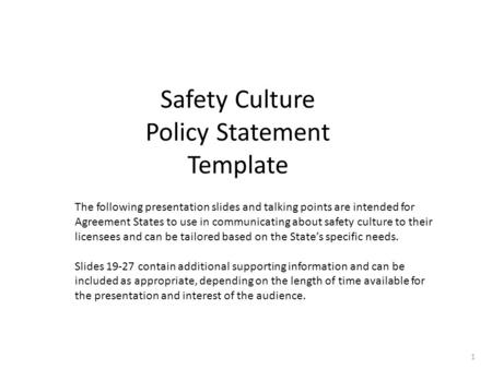Safety Culture Policy Statement Template