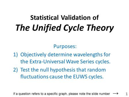 Statistical Validation of The Unified Cycle Theory Purposes: 1)Objectively determine wavelengths for the Extra-Universal Wave Series cycles. 2)Test the.