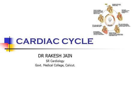 CARDIAC CYCLE DR RAKESH JAIN SR Cardiology Govt. Medical College, Calicut.