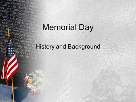 Memorial Day History and Background. Civil War Also called the War Between the States War began April 12, 1861 President Abraham Lincoln issued the Emancipation.