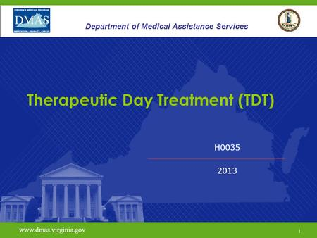 1 www.vita.virginia.gov H0035 2013 www.dmas.virginia.gov 1 Department of Medical Assistance Services Therapeutic Day Treatment (TDT)