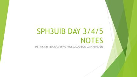 SPH3UIB DAY 3/4/5 NOTES METRIC SYSTEM,GRAPHING RULES, LOG-LOG DATA ANALYSIS.