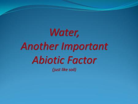 Water, Another Important Abiotic Factor (just like soil)