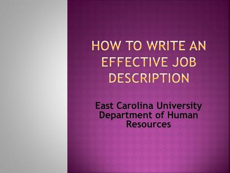 East Carolina University Department of Human Resources.