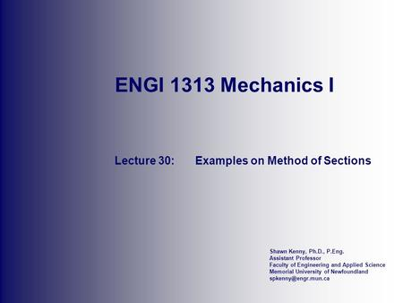 Lecture 30: Examples on Method of Sections