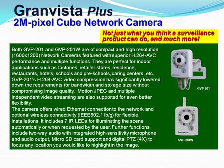 Not just what you think a surveillance product can do, and much more! Granvista Plus 2M-pixel Cube Network Camera Both GVP-201 and GVP-201W are of compact.