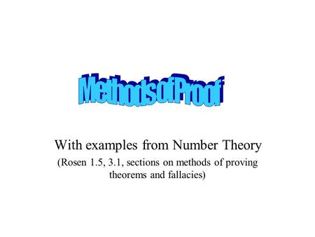 With examples from Number Theory (Rosen 1.5, 3.1, sections on methods of proving theorems and fallacies)