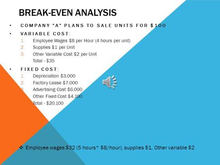 BREAK-EVEN ANALYSIS COMPANY A PLANS TO SALE UNITS FOR $100 VARIABLE COST: 1.Employee Wages $8 per Hour (4 hours per unit) 2.Supplies $1 per Unit 3.Other.