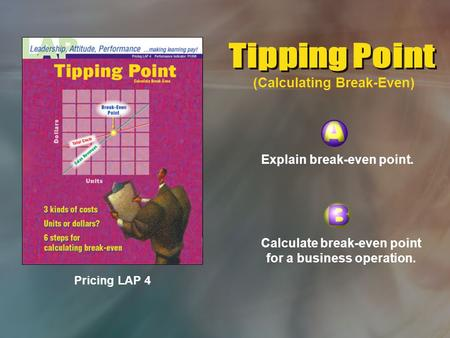 Pricing LAP 4 Explain break-even point. Calculate break-even point for a business operation. (Calculating Break-Even)