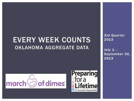 3rd Quarter 2013 July 1 – September 30, 2013 EVERY WEEK COUNTS OKLAHOMA AGGREGATE DATA.