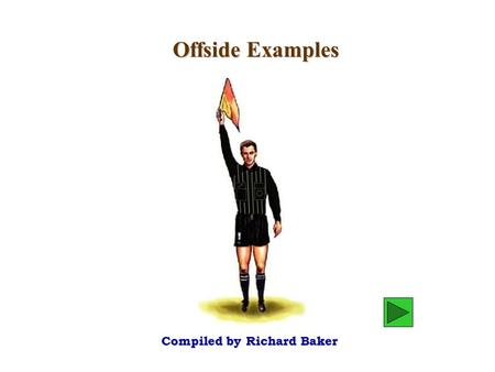 "Offside Examples Compiled by Richard Baker. Richard Baker - 2003 Should we declare ""B"" offside? Or should we wait ? declare wait Diagram 1 B A."