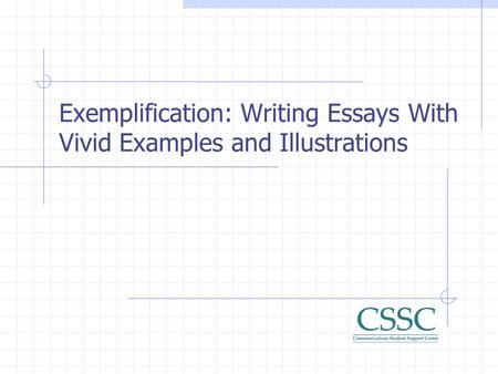 Exemplification Essay