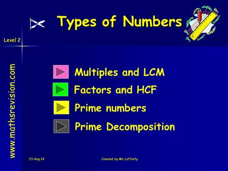 Types of Numbers Multiples and LCM Factors and HCF Prime numbers