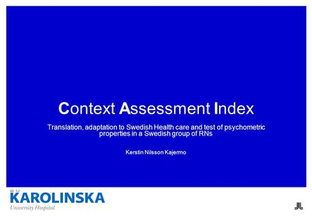 Context Assessment Index Translation, adaptation to Swedish Health care and test of psychometric properties in a Swedish group of RNs Kerstin Nilsson Kajermo.