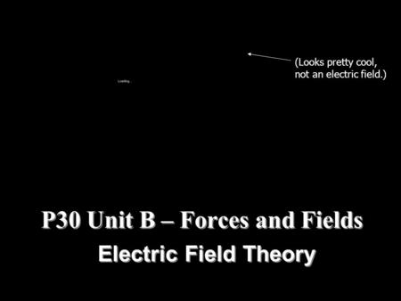 P30 Unit B – Forces and Fields Electric Field Theory (Looks pretty cool, not an electric field.)
