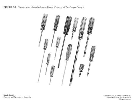FIGURE C-1 Various sizes of standard screwdrivers. (Courtesy of The Cooper Group.) Dale R. Patrick Electricity and Electronics: A Survey, 5e Copyright.