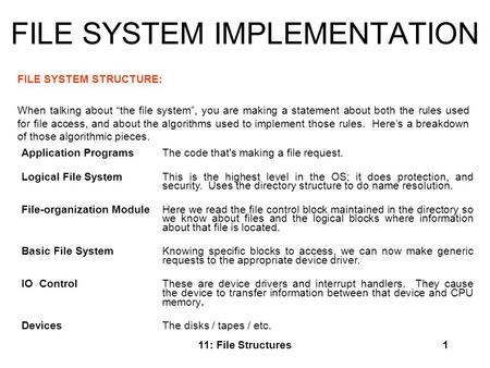 "11: File Structures1 FILE SYSTEM IMPLEMENTATION FILE SYSTEM STRUCTURE: When talking about ""the file system"", you are making a statement about both the."