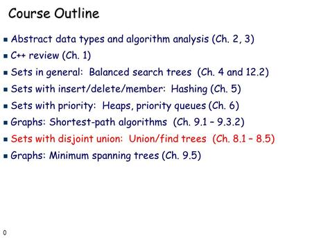 0 Course Outline n Abstract data types and algorithm analysis (Ch. 2, 3) n C++ review (Ch. 1) n Sets in general: Balanced search trees (Ch. 4 and 12.2)