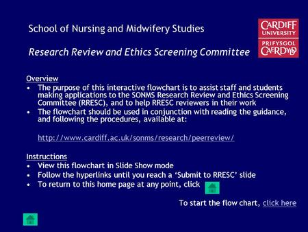 School of Nursing and Midwifery Studies Research Review and Ethics Screening Committee Overview The purpose of this interactive flowchart is to assist.
