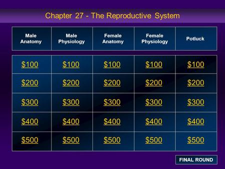 Chapter 27 - The Reproductive System $100 $200 $300 $400 $500 $100$100$100 $200 $300 $400 $500 Male Anatomy Male Physiology Female Anatomy Female Physiology.