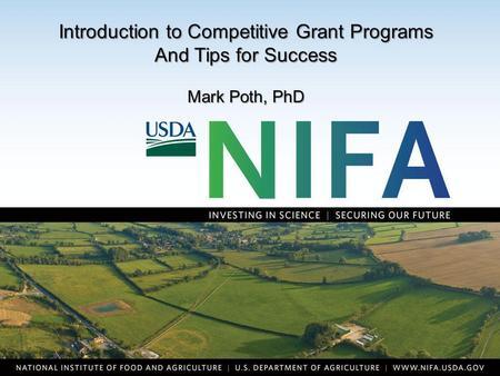 Waterfront Reconfiguration Introduction to Competitive Grant Programs And Tips for Success Mark Poth, PhD.