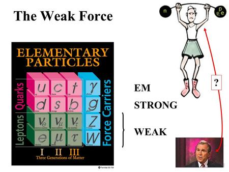 "The Weak Force EM STRONG WEAK ?. The Force Carriers  Like the Electromagnetic & Strong forces, the Weak force is also mediated by ""force carriers"". "