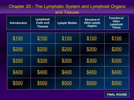 Chapter 20 - The Lymphatic System and Lymphoid Organs and Tissues