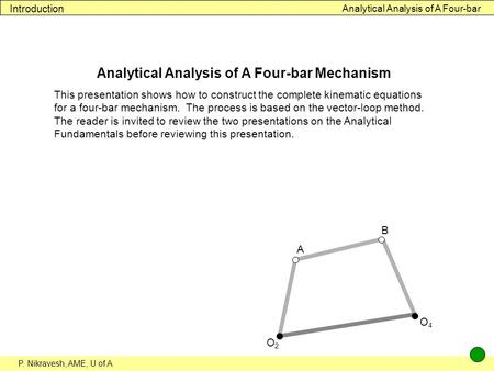 Analytical Analysis of A Four-bar Mechanism