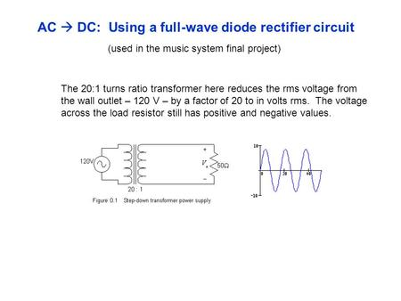 AC  DC: Using a full-wave diode rectifier circuit (used in the music system final project) The 20:1 turns ratio transformer here reduces the rms voltage.