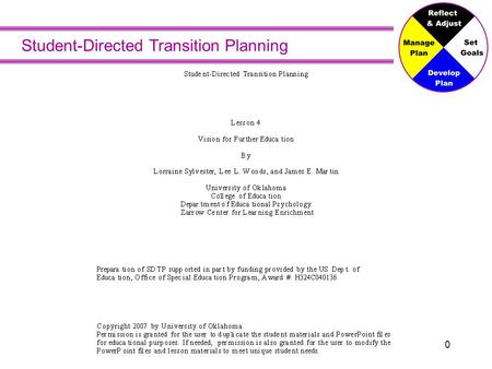 Student-Directed Transition Planning 0. Vision for Further Education Will you go to school after high school?