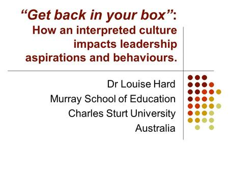 """Get back in your box"": How an interpreted culture impacts leadership aspirations and behaviours. Dr Louise Hard Murray School of Education Charles Sturt."