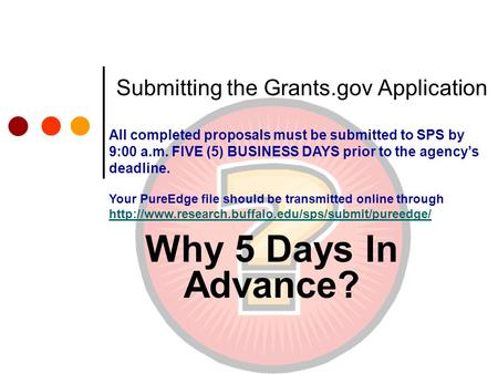 Submitting the Grants.gov Application Why 5 Days In Advance? All completed proposals must be submitted to SPS by 9:00 a.m. FIVE (5) BUSINESS DAYS prior.