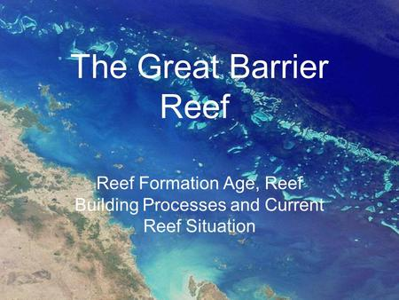 The Great Barrier Reef Reef Formation Age, Reef Building Processes and Current Reef Situation.