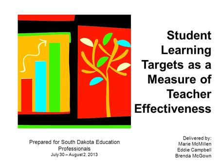 Student Learning Targets as a Measure of Teacher Effectiveness Prepared for South Dakota Education Professionals July 30 – August 2, 2013 Delivered by:
