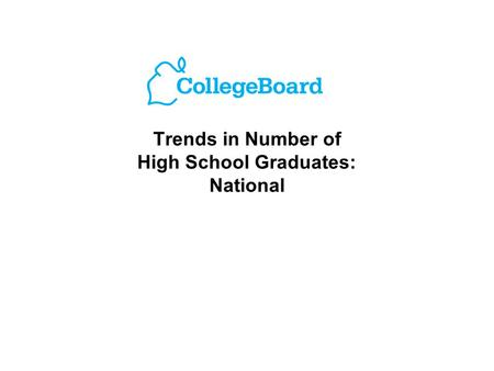 Trends in Number of High School Graduates: National.