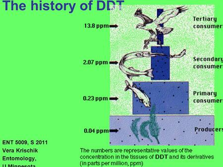 The history of DDT ENT 5009, S 2011 Vera Krischik Entomology, U Minnesota.