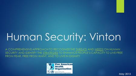 Human Security: Vinton A COMPREHENSIVE APPROACH TO RECOGNIZE THE THREATS AND NEEDS ON HUMAN SECURITY AND IDENTIFY THE STRATEGIES TO ENHANCE PEOPLE'S CAPACITY.