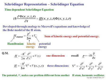 Schrödinger Representation – Schrödinger Equation Hamiltonian kinetic potential energy energy Sum of kinetic energy and potential energy. Time dependent.