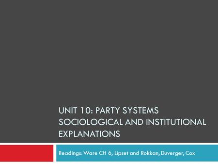 Unit 10: Party Systems Sociological and Institutional Explanations