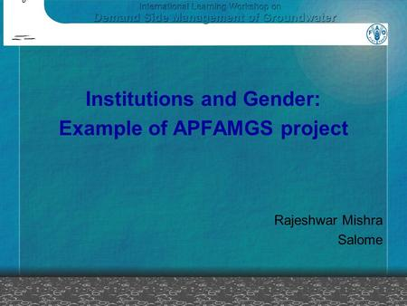 Institutions and Gender: Example of APFAMGS project Rajeshwar Mishra Salome.